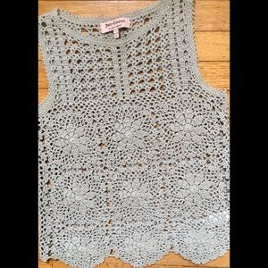 Gorgeous Crocheted, Pale Grey Top, Size L